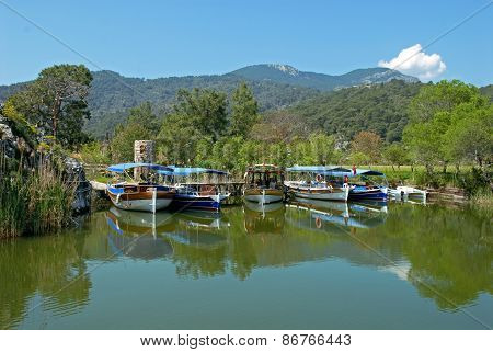 Tourist Boats On Dalyan River
