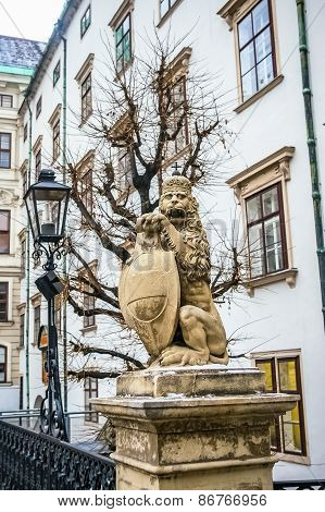 Lion Statue Near Hofburg Royal Palace In Vienna