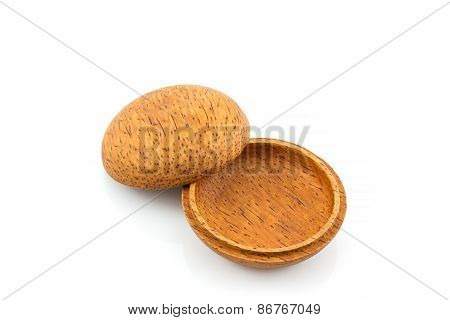 Small Wooden Box Or Container Palm Wood Product, Handicraft Nature .