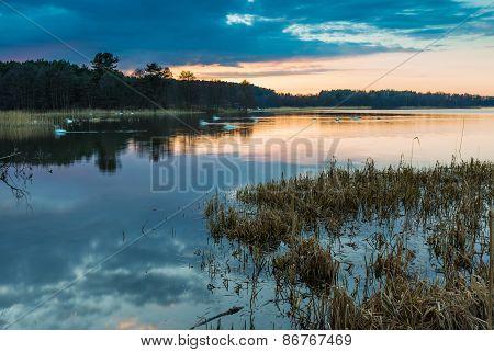 Lake Landscape After Sunset