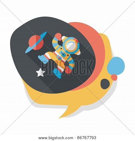 Space Astronaut Flat Icon With Long Shadow, Eps10