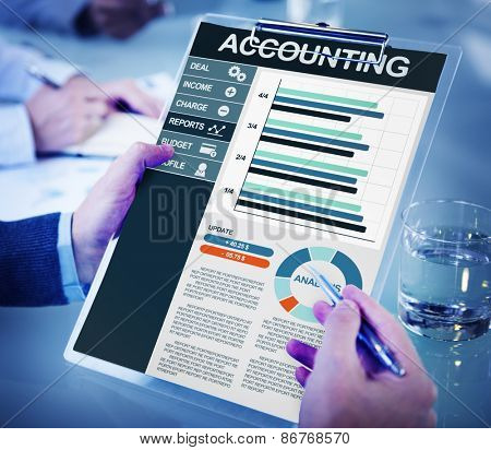 Businessman Accounting Report Analysis Concept