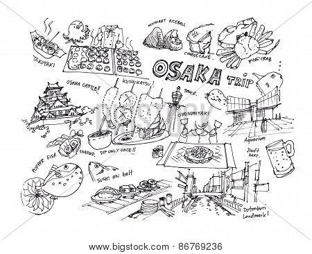 Osaka Japan Drawing Illustration Of Landmark And Items