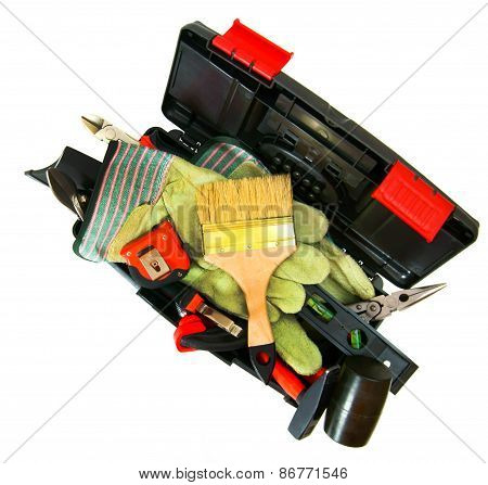 Many working tools in the box on white background.