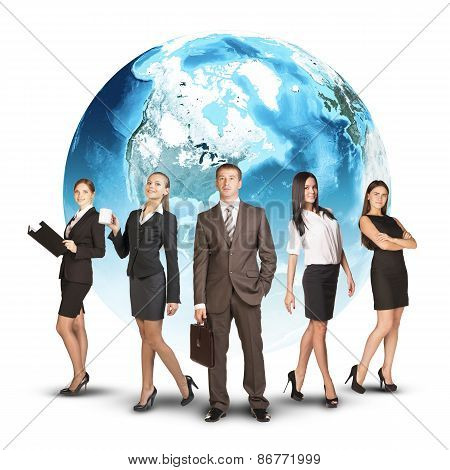 Five business person standing wedge. Earth as backdrop
