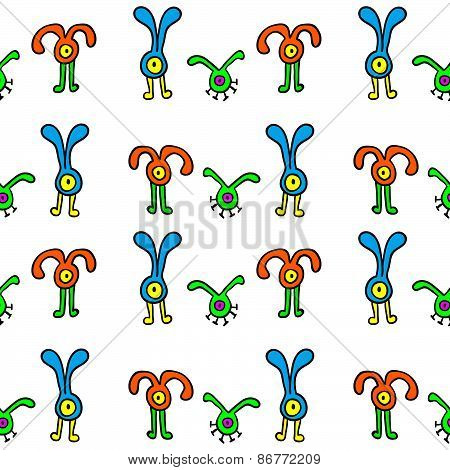 seamless pattern with cute aliens.
