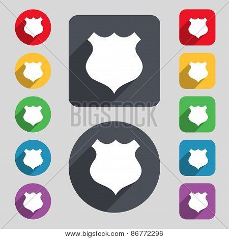 Shield Icon Sign. A Set Of 12 Colored Buttons And A Long Shadow