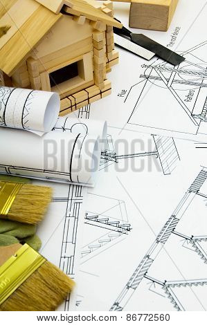 Joiner's works. Drawings for building, working tools and small wooden house.