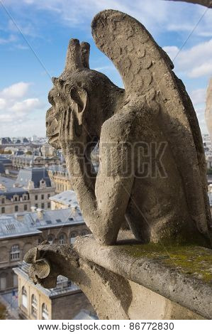 Chimera (gargoyle) Of The Cathedral Of Notre Dame De Paris