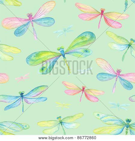 Seamless background of watercolor dragonflies blue, pink, green and turquoise colors.