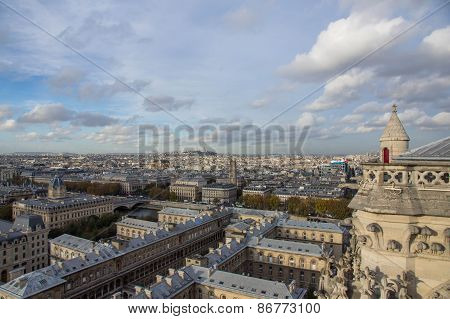 View Of The City Of Paris From Height Of Bird's Flight
