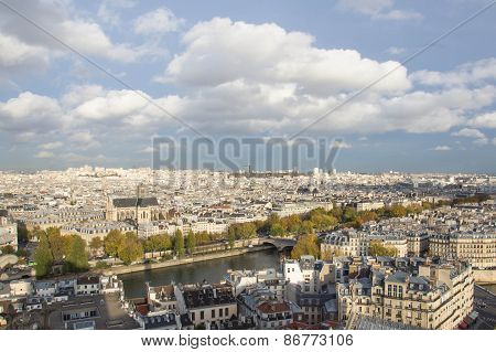 Paris, View Of The City From Height Of Bird's Flight