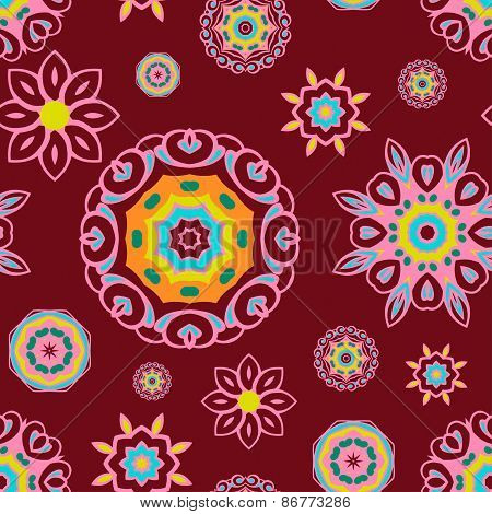 Floral Seamless Pattern On Maroon Background, Decorative Vector Wallpaper.