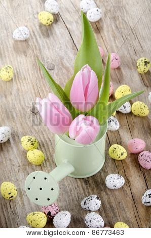 Pink Tulips In A Light Green Watering Can