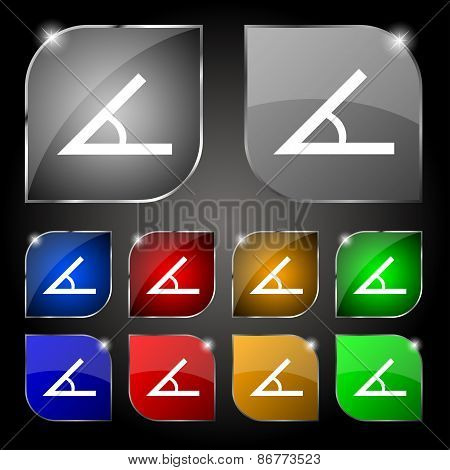 Angle 45 Degrees Icon Sign. Set Of Ten Colorful Buttons With Glare. Vector