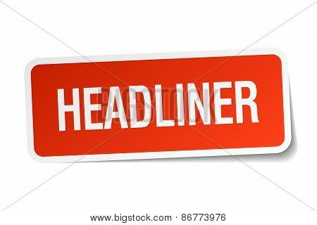 Headliner Red Square Sticker Isolated On White