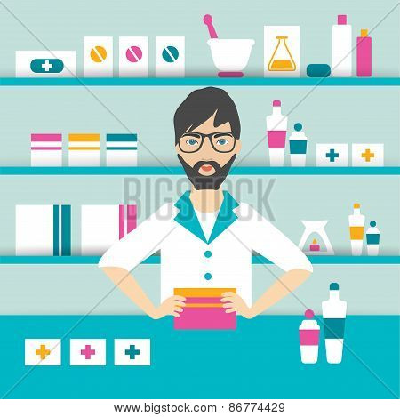 Pharmacy Chemist Man Standing In Drugstore.