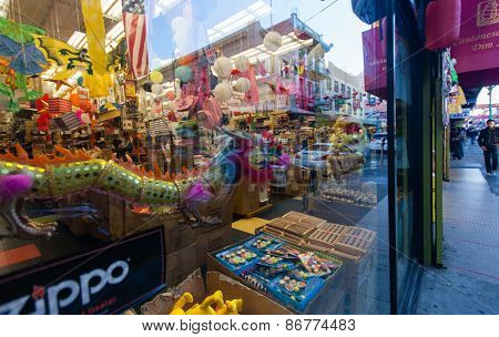 San Francisco, Ca, Usa - Sept 25, 2013: Decoration Of China Town District Reflecting In Shop Window