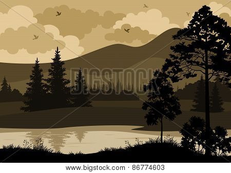 Landscape, Trees, Mountains and River