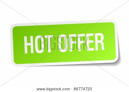 Hot Offer Green Square Sticker On White Background