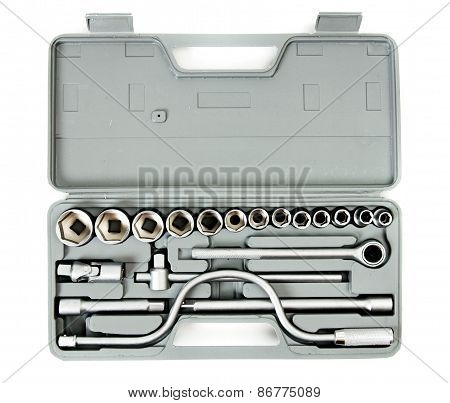 Metalwork. Box with wrenches on white background.