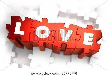 Love - Text on Red Puzzles with White Background.