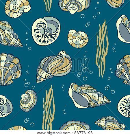 Hand Drawn Seashells, Seaweed Andbubbles On Blue Background, Seamless Pattern