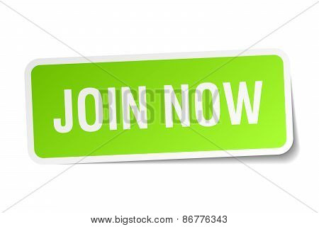 Join Now Green Square Sticker On White Background