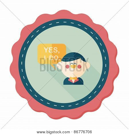 Wedding Yes I Do Words From Groom Flat Icon With Long Shadow,eps10