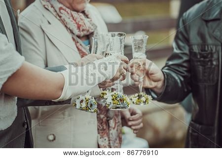 Guests Drink Champagne On The Wedding Ceremony