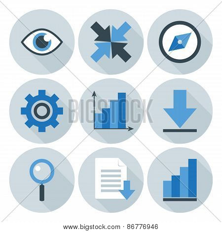 Blue And Grey Business Flat Circle Icons