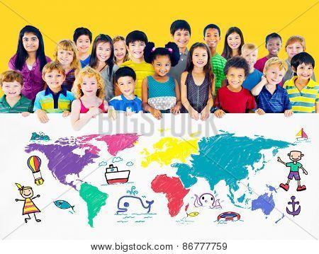 World Kids Journey Adventure Imagination Travel Concept