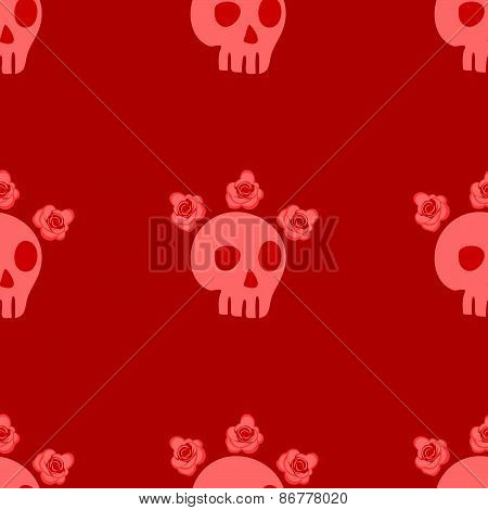 seamless pattern with skulls and roses