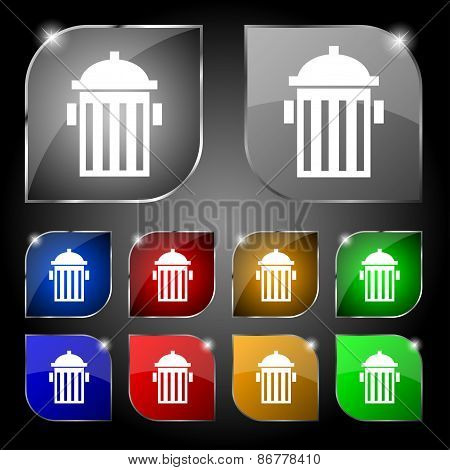 Fire Hydrant Icon Sign. Set Of Ten Colorful Buttons With Glare. Vector