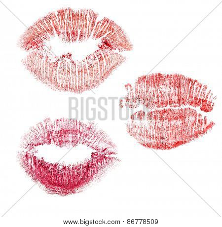set of red lips imprint isolated on white background