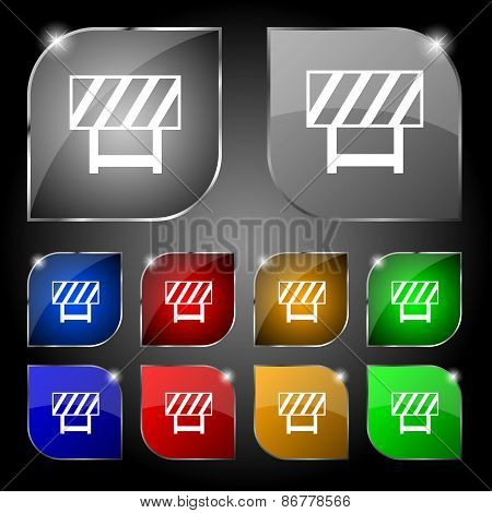 Road Barrier Icon Sign. Set Of Ten Colorful Buttons With Glare. Vector