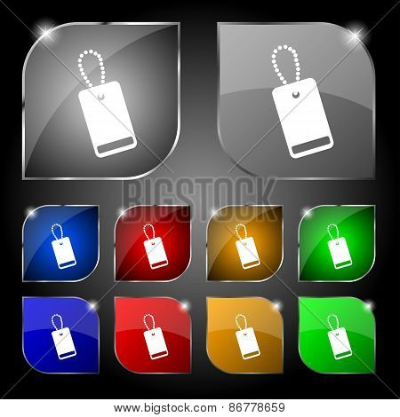 Army Chains Icon Sign. Set Of Ten Colorful Buttons With Glare. Vector