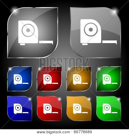 Roulette Construction Icon Sign. Set Of Ten Colorful Buttons With Glare. Vector