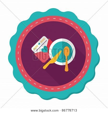 Wedding Invitation And Dishware Flat Icon With Long Shadow,eps10
