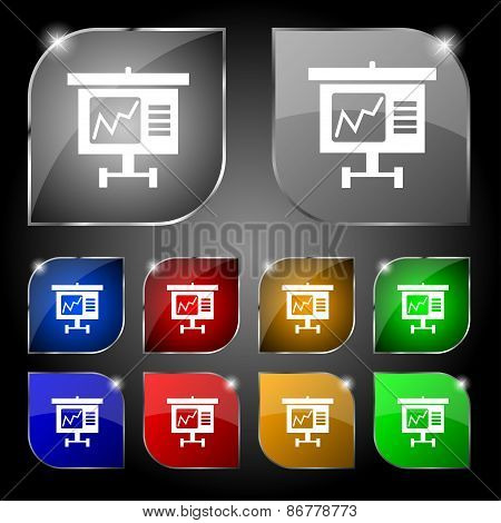 Graph Icon Sign. Set Of Ten Colorful Buttons With Glare. Vector
