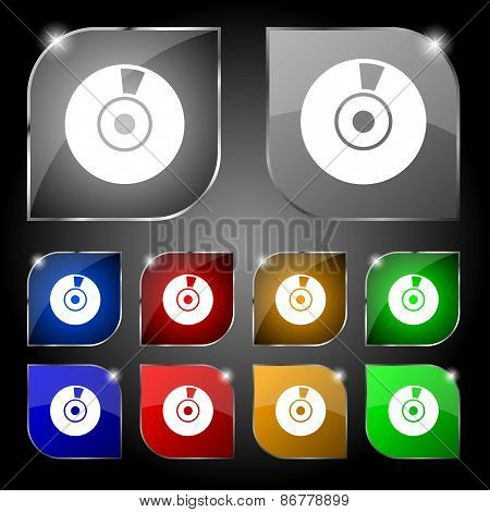 Cd Or Dvd Icon Sign. Set Of Ten Colorful Buttons With Glare. Vector