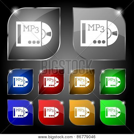 Mp3 Player Icon Sign. Set Of Ten Colorful Buttons With Glare. Vector