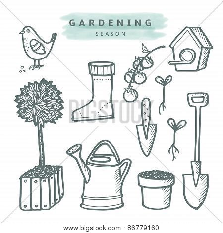 Cute Set Of Gardening Doodle Sketches, Isolated Vector