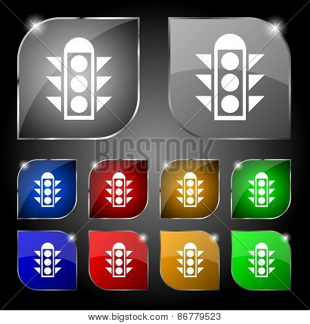 Traffic Light Signal Icon Sign. Set Of Ten Colorful Buttons With Glare. Vector