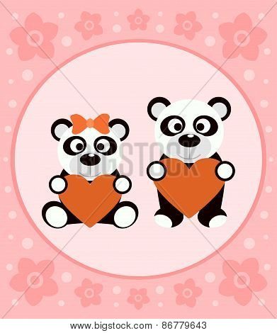 Background cartoon card with pandas