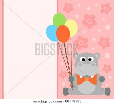 Background card with hippopotamus