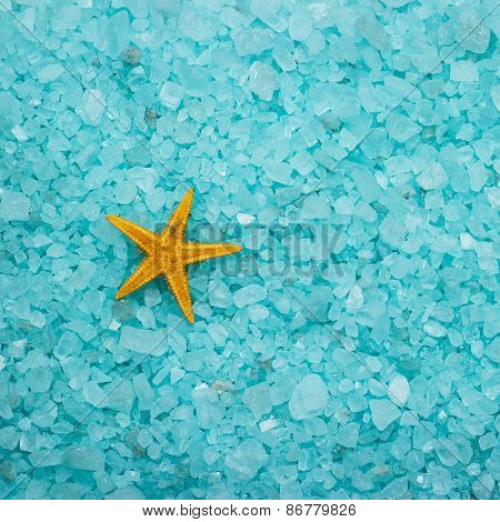 aromatic bath salt and starfish background