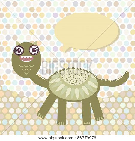 Polka dot background, pattern. Funny cute dinosaur monster on dot background. Vector