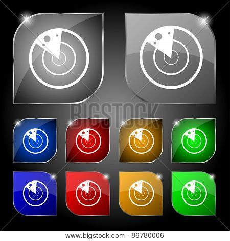 Radar Icon Sign. Set Of Ten Colorful Buttons With Glare. Vector