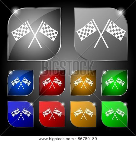 Race Flag Finish Icon Sign. Set Of Ten Colorful Buttons With Glare. Vector